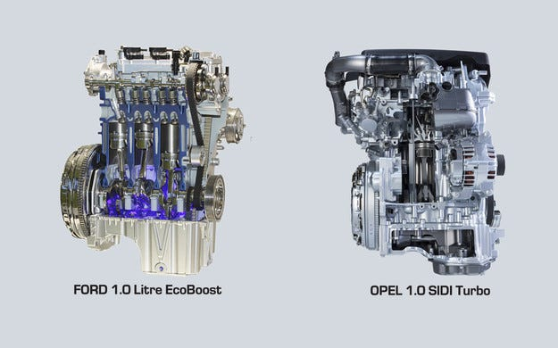 Ford 1.0 EcoBoost срещу Opel 1.0 SIDI Turbo