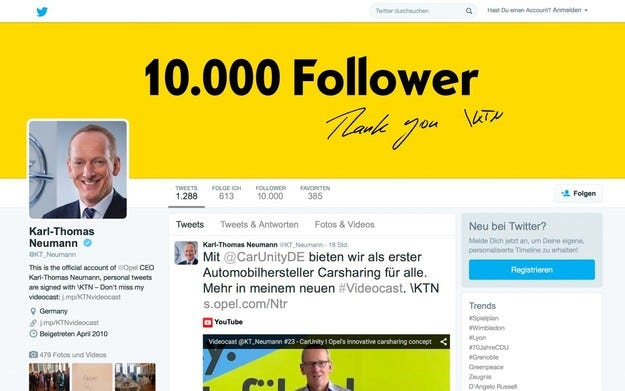 Д-р Карл-Томас Нойман  има 10 000 последователи в Twitter