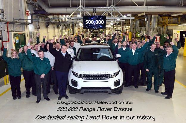 Кросоувърът Range Rover Evoque мина бройката 500 000