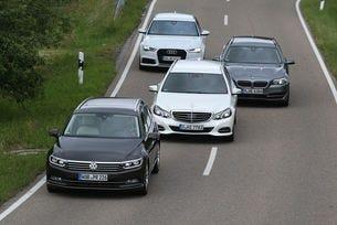Audi A6 Avant, BMW 528i, Mercedes E 250, VW Passat