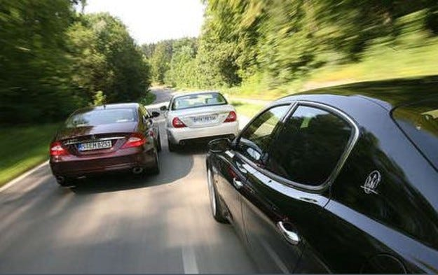Jaguar XJR, Maserati Quattroporte & Mercedes CLS 500