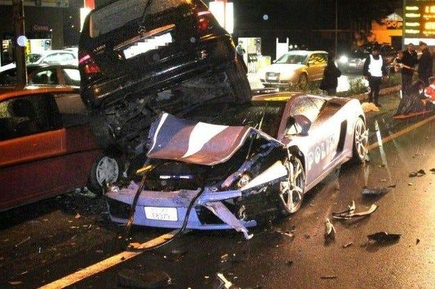Lamborghini Gallardo Police Crash