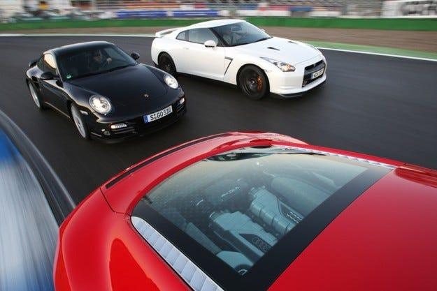 Audi R8, Nissan GT-R, Porsche 911 Turbo