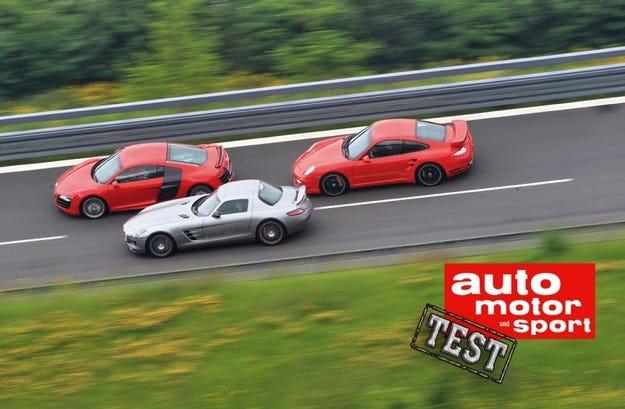 Audi R8 5.2 FSI Quattro, Mercedes SLS AMG, Porsche 911 Turbo S