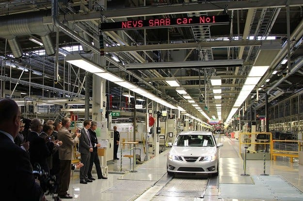 Първият нов Saab слезе от поточната линия