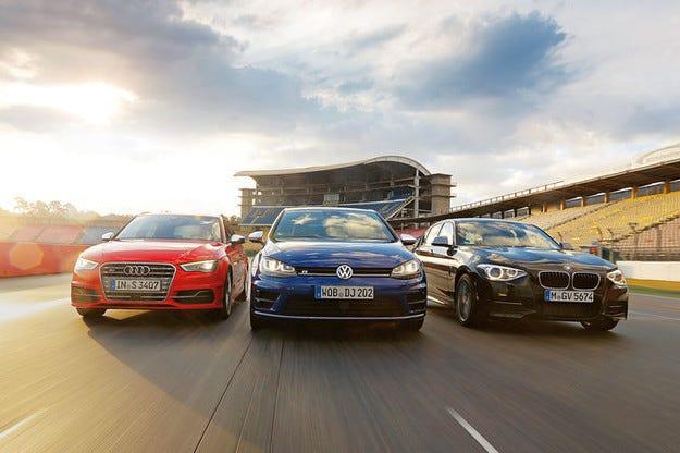 VW Golf R, Audi S3 и BMW M135i