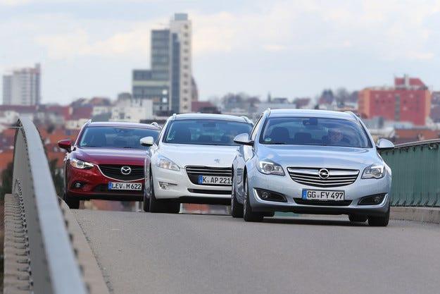 Mazda 6 срещу Opel Insignia и Peugeot 508