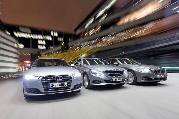 Audi A6 срещу BMW 530d и Mercedes E 350