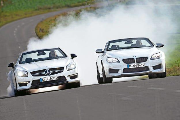 BMW M6 Cabrio срещу Mercedes SL 63 AMG