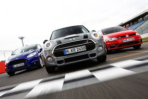 VW Polo GTI, Ford Fiesta ST и Mini Cooper S