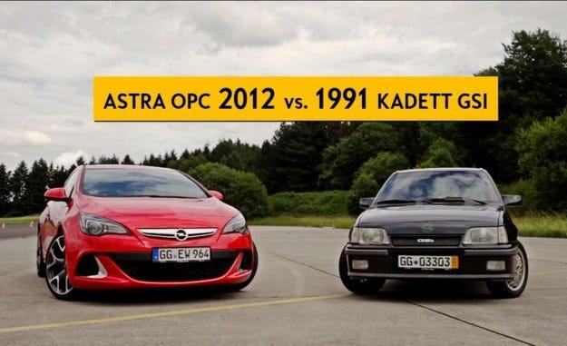 Видео: Opel Kadett GSi срещу Astra OPC
