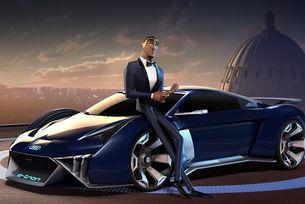 Концептът Audi RSQ e-tron участва в рисуван филм