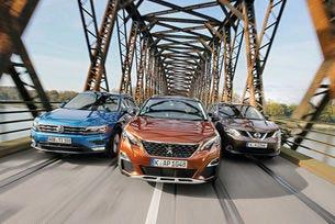 Nissan Qashqai, Peugeot 3008 и VW Tiguan: Новак срещу бестселър