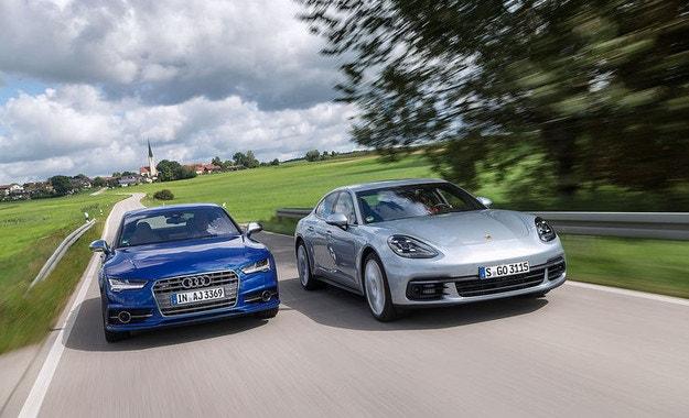 Audi S7 Sportback и Porsche Panamera 4S: Семеен дуел