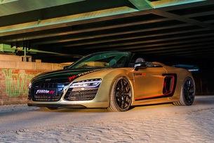 Fostla Audi R8 Spyder: 620 златни коня