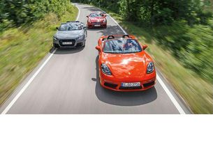 Audi TT RS срещу Mercedes-AMG SLC 43 и Porsche 718 Boxster S