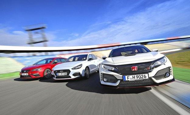 Honda Civic Type R, Hyundai i30 N Performance и Seat Leon Cupra 300