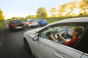 Audi A3, BMW 1, Mercedes A-класа, VW Golf