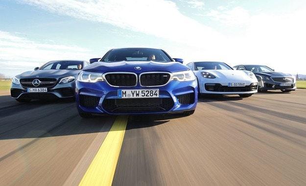 BMW M5, AMG E63, Cadillac CTS-V и Porsche Panamera
