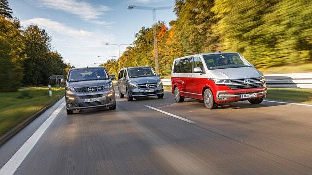 VW Multivan, Mercedes V 300d и Opel Zafira