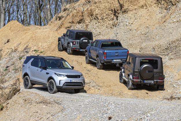 Ford Ranger Raptor, Jeep Wrangler, Land Rover Discovery, Mercedes-AMG G 63