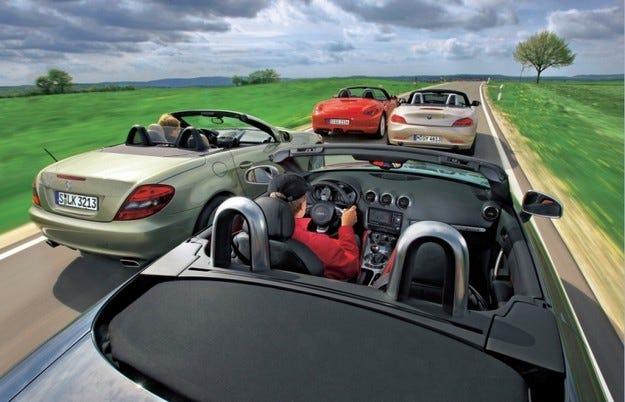 Audi TTS Roadster, BMW Z4, Mercedes SLK, Porsche Boxster S
