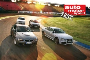 Audi RS5 Coupe, BMW M3 Coupe, Alpina B3 S Coupe и Mercedes C 63 AMG