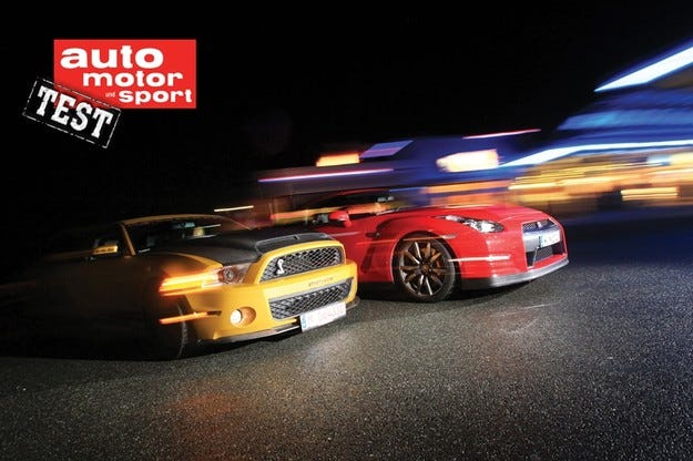 Ford Mustang Shelby GT 640 срещу Nissan GT-R