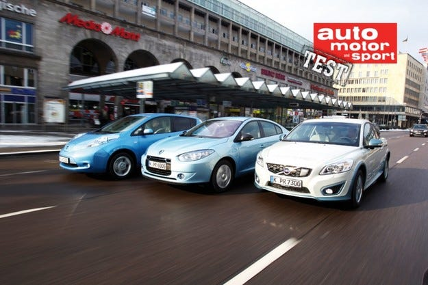 Nissan Leaf, Renault Fluence Z.E. и Volvo C30 Electric