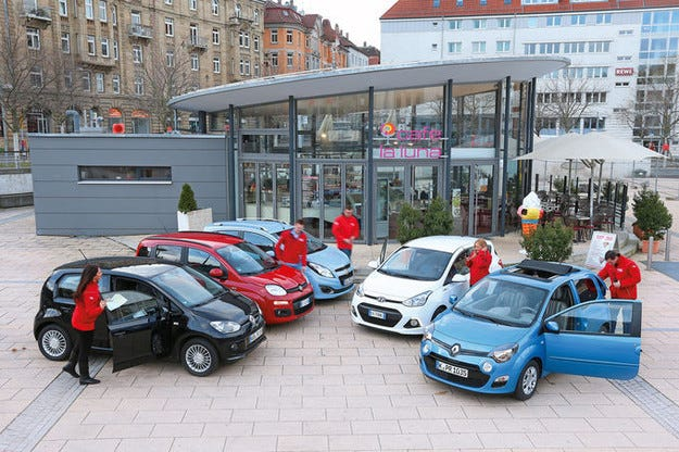 Chevrolet Spark, Fiat Panda, Hyundai i10, Renault Twingo, VW Up