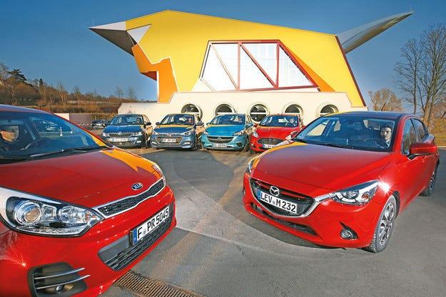 Ford Fiesta, Hyundai i20, Kia Rio, Mazda 2, Opel Corsa, Skoda Fabia: Голямо сравнение на малки модели