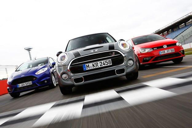 VW Polo GTI, Ford Fiesta ST и Mini Cooper S