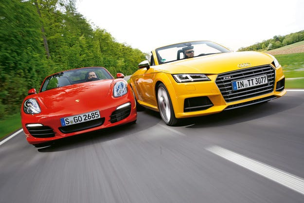 Audi TTS Roadster срещу Porsche Boxster S